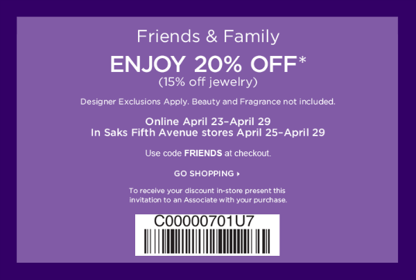 Today's top Saks Fifth Avenue Coupon: Earn a Saks gift card up to $ (including beauty). See 40 Saks Fifth Avenue Coupon and Promo Code for December App Login or Register, Deal Alert. Saks Fifth Avenue is having up to 60% off Thanksgiving Sale.