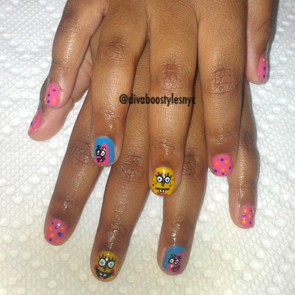 OPI IF YOU MOUST YOU MOUST - SPONGEBOB SQUARE PANTS FREE HAND